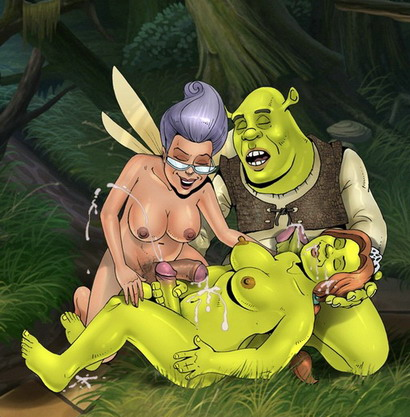Shrek green monster looks Fiona tranny sex Fairy Godmother shemale Futanari Sex Cartoons Princess Fiona shemale